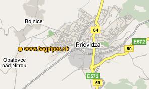 Map of Bojnice and Prievidza